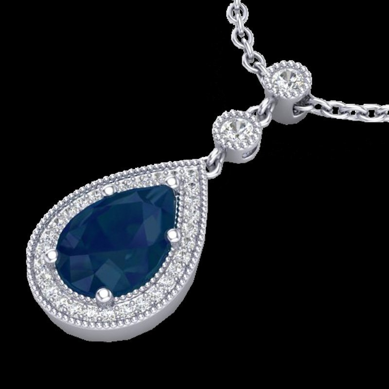 Natural 2.75 CTW Sapphire & Micro Pave Diamond Necklace