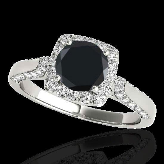 Genuine 1.70 CTW Certified Black Genuine Diamond Bridal