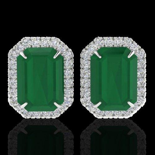 Natural 10.40 CTW Emerald & Micro Pave Diamond
