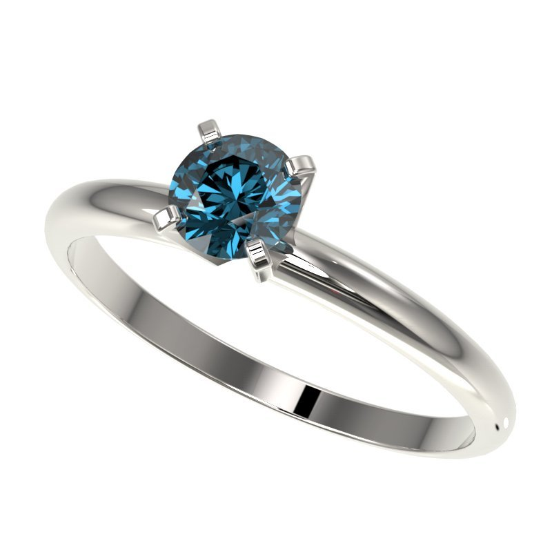Genuine 0.55 CTW Certified Intense Blue Genuine Diamond