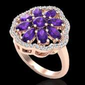 Natural 3.0 CTW Amethyst & Diamond Certified Cluster