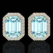 Natural 12 CTW Sky Blue Topaz And Micro Pave Diamond