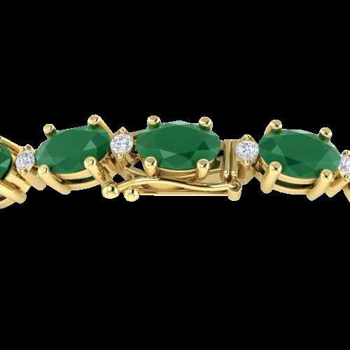 Genuine 15 CTW Emerald & Diamond Certified Eternity