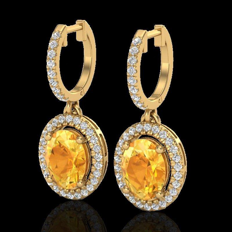 Genuine 3.50 CTW Citrine & Micro Pave Diamond Earrings