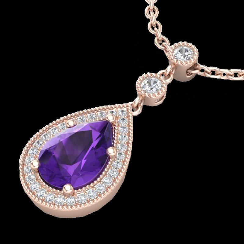 Natural 2.25 CTW Amethyst & Micro Pave Diamond Necklace
