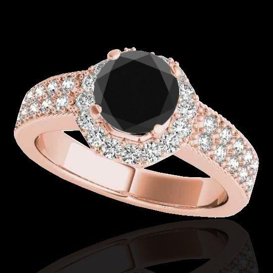Genuine 1.40 CTW Certified Black Genuine Diamond Bridal