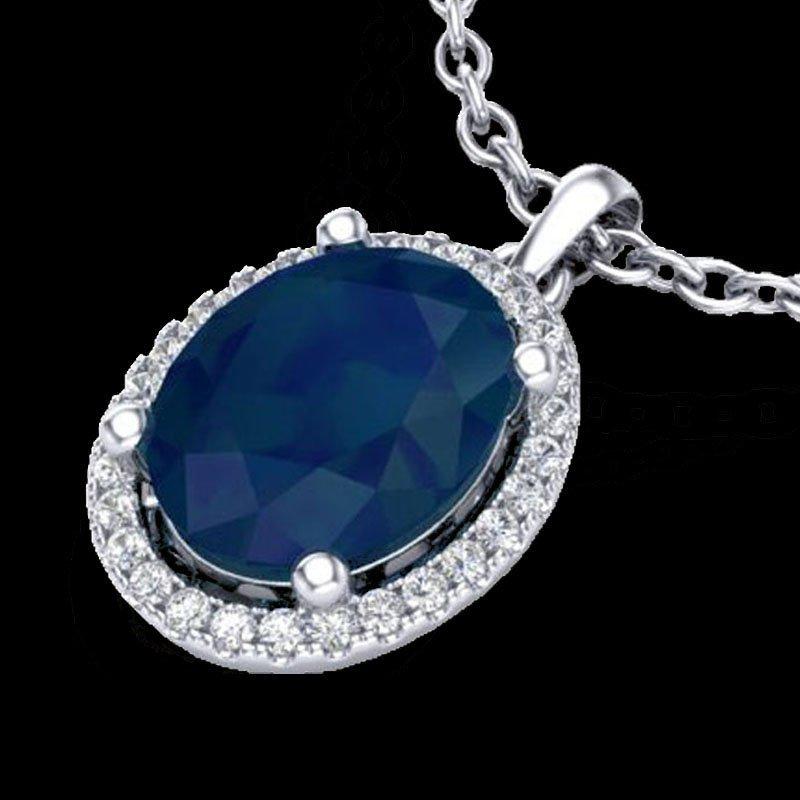 Genuine 3.0 CTW Sapphire & Micro Pave Diamond Certified