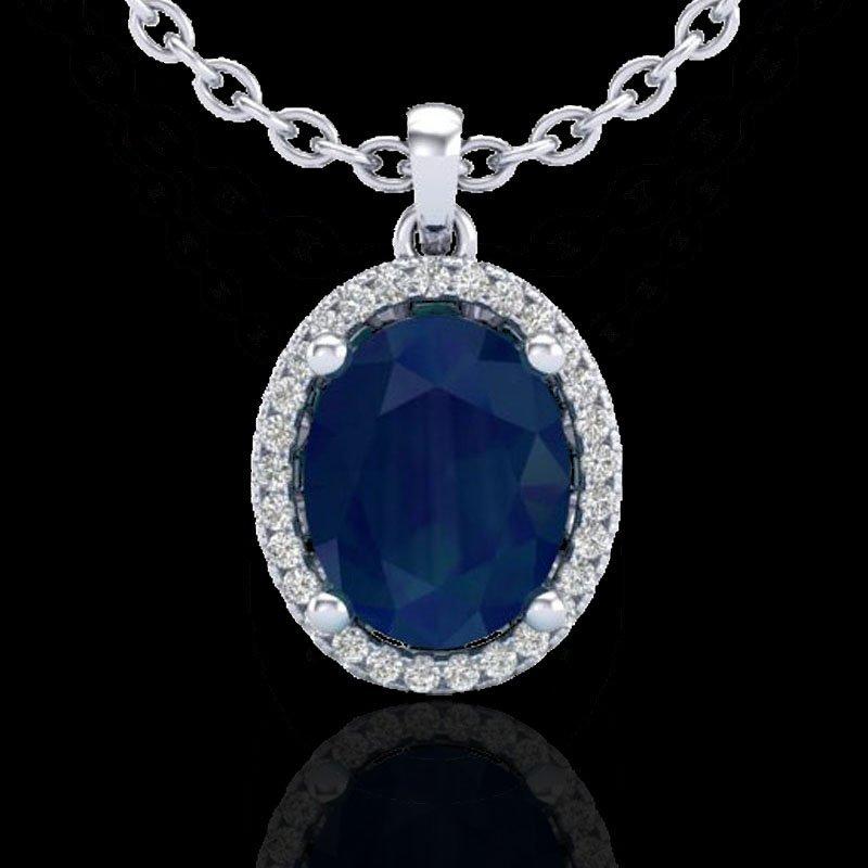 Genuine 3.0 CTW Sapphire & Micro Pave Diamond Certified - 2