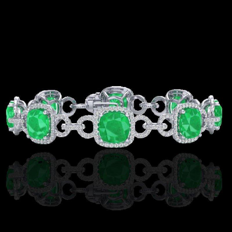 Genuine 25 CTW Emerald & Micro Pave Diamond Certified