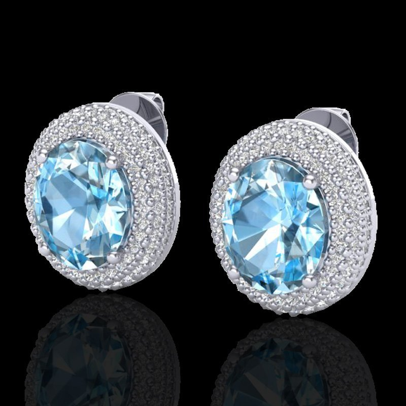 Natural 10 CTW Sky Blue Topaz & Micro Pave Diamond