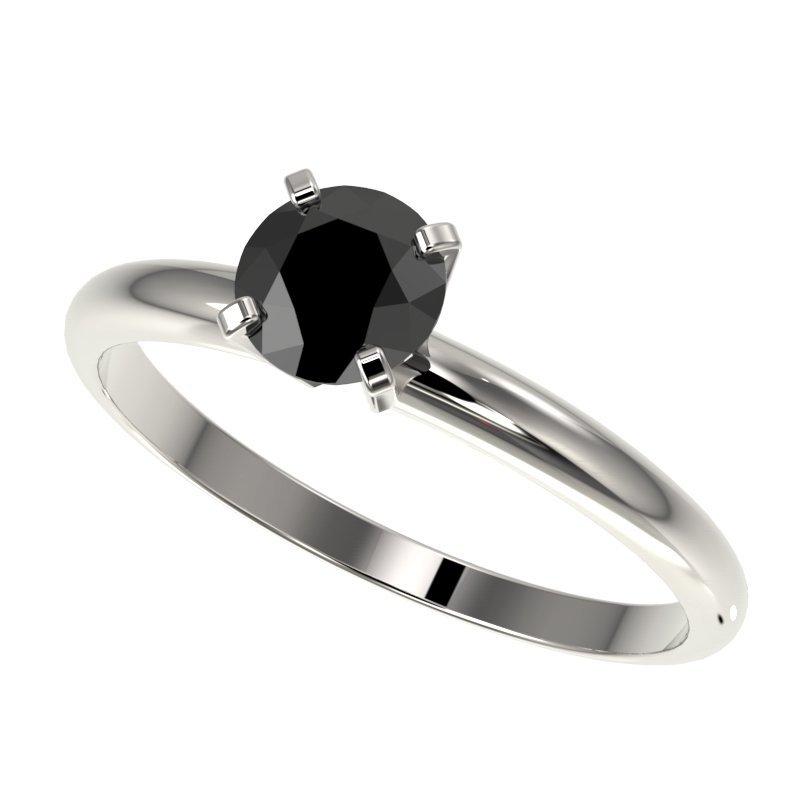 Genuine 0.75 CTW Fancy Black Genuine Diamond Bridal
