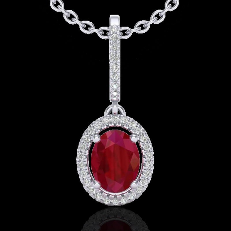 Genuine 2.0 CTW Ruby & Micro Pave Diamond Necklace