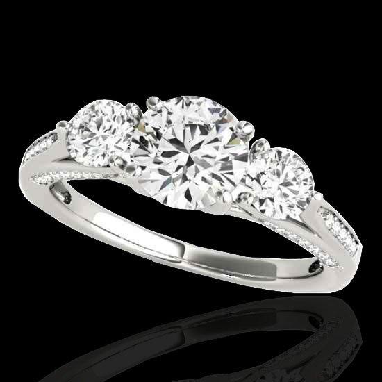 Genuine 1.75 CTW Certified G-I Genuine Diamond 3 Stone
