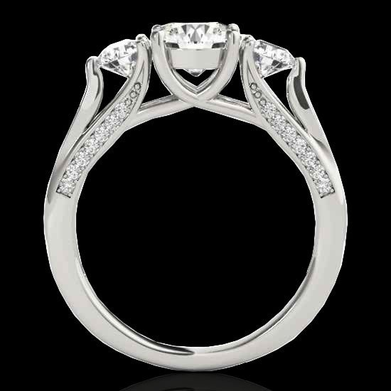 Genuine 1.75 CTW Certified G-I Genuine Diamond 3 Stone - 2