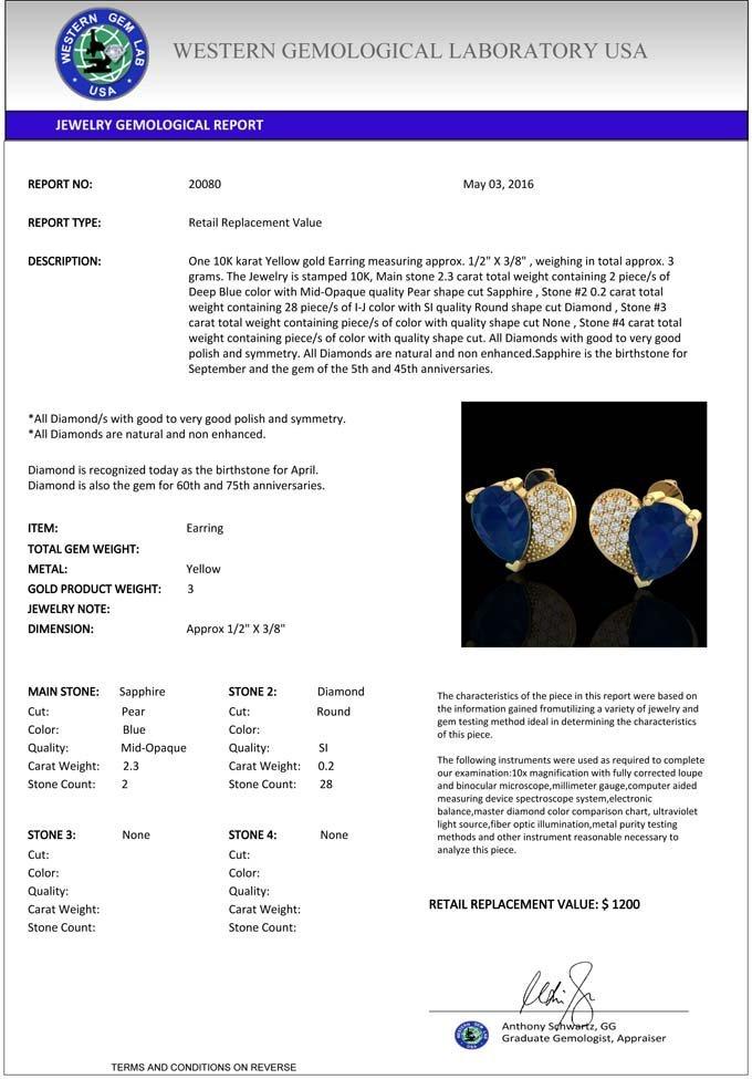 Natural 2.50 CTW Sapphire & Micro Pave Diamond - 3