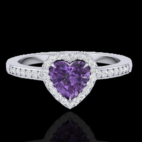 Natural 1.0 CTW Amethyst & Micro Pave Ring Heart Halo