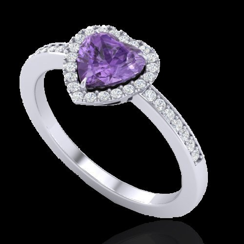 Natural 1.0 CTW Amethyst & Micro Pave Ring Heart Halo - 2