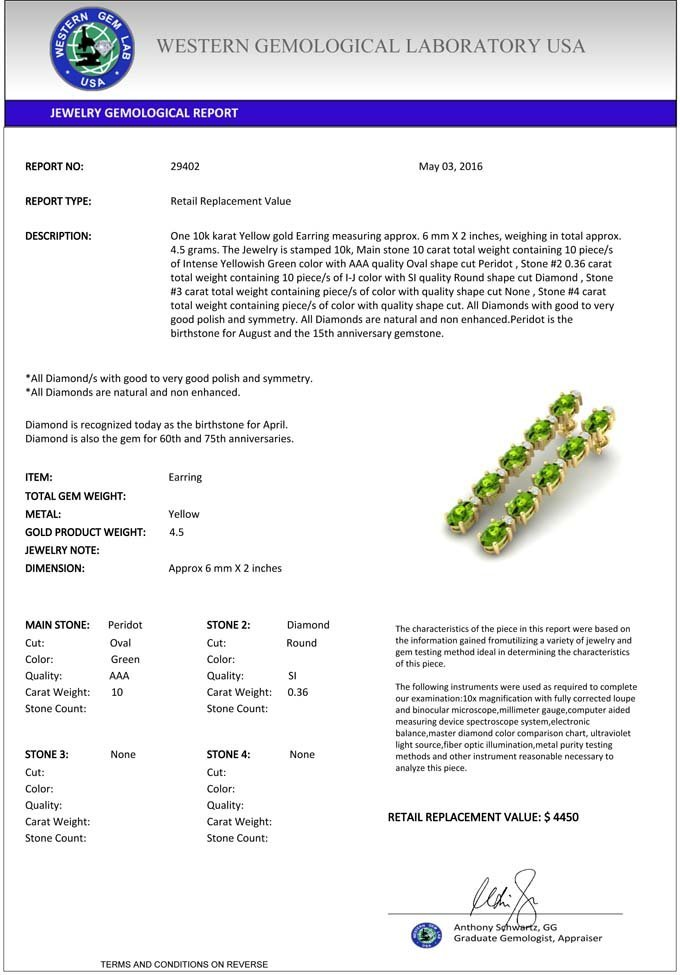 Natural 10.36 CTW Peridot & Diamond Certified Tennis - 3