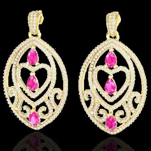 Genuine 7.0 CTW Sapphire Pink & Micro Pave Diamond