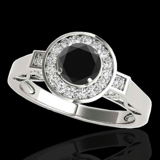 Genuine 1.75 CTW Certified Black Genuine Diamond Bridal