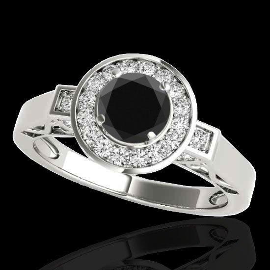 Genuine 1.75 CTW Certified Black Genuine Diamond Bridal