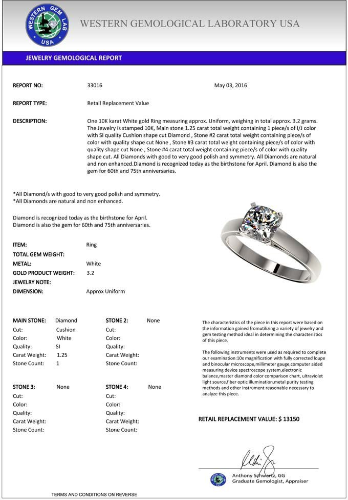 Genuine 1.25 CTW Certified Quality Cushion Cut Genuine - 3