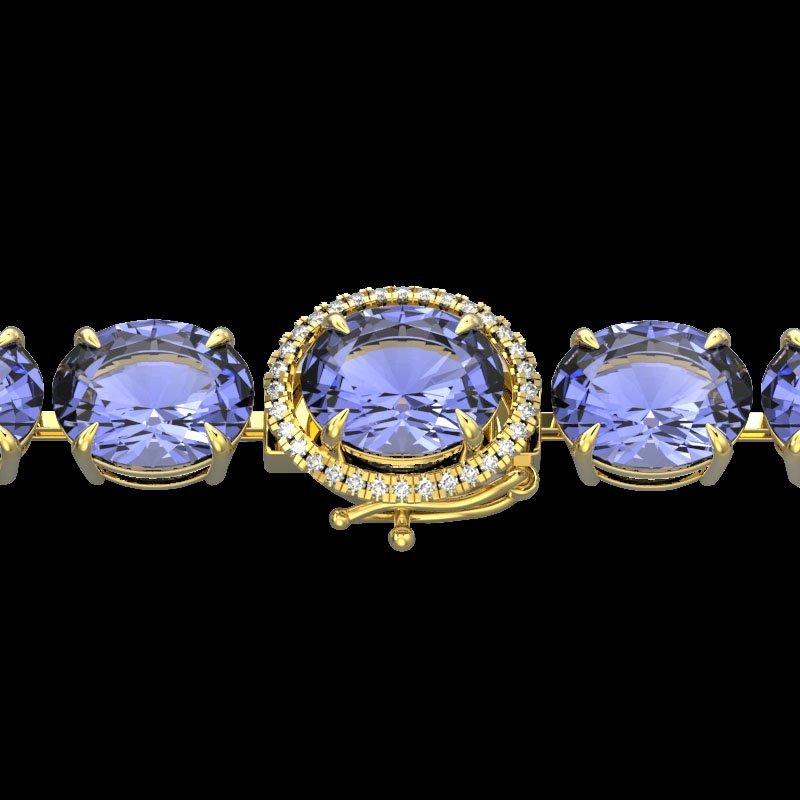 49 CTW Tanzanite & Micro Pave Diamond Halo Bracelet 14K