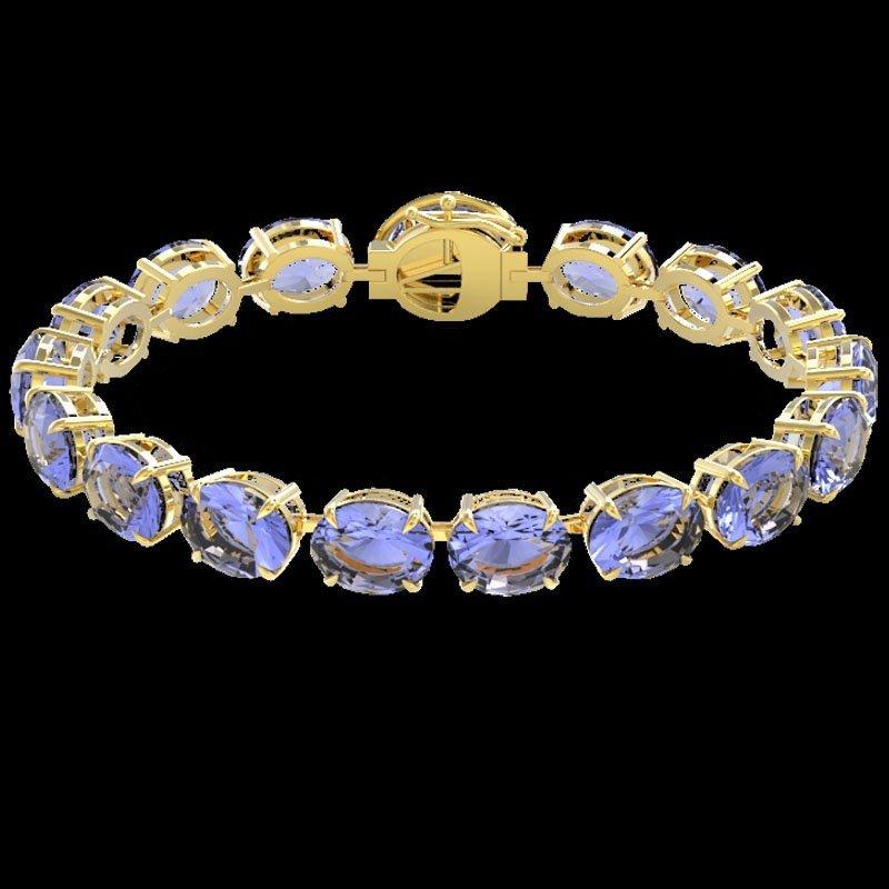 49 CTW Tanzanite & Micro Pave Diamond Halo Bracelet 14K - 2