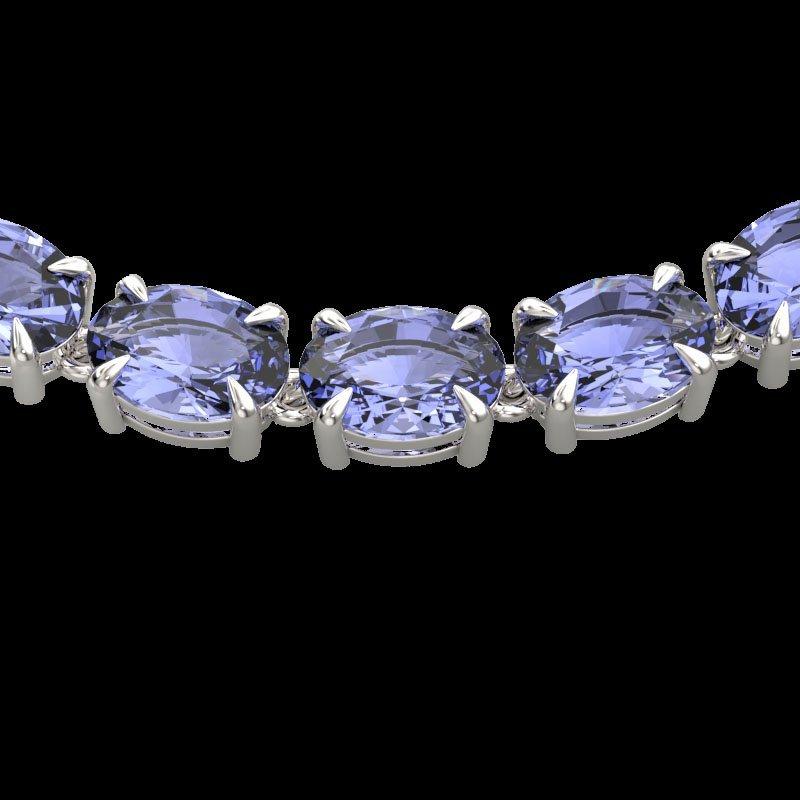 56 CTW Tanzanite Eternity Inspired Tennis Necklace 14K