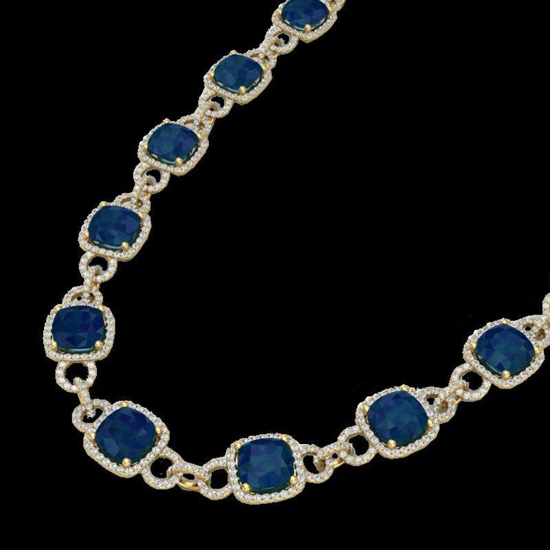 56 CTW Sapphire & Micro Pave Diamond Certified Eternity