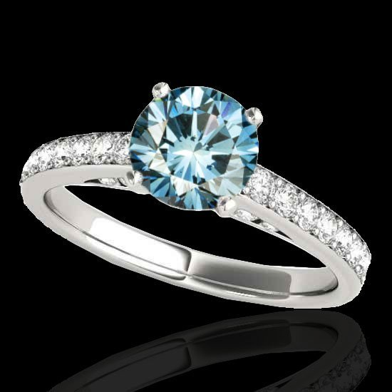 1.50 CTW Certified Fancy Blue Diamond Solitaire Bridal