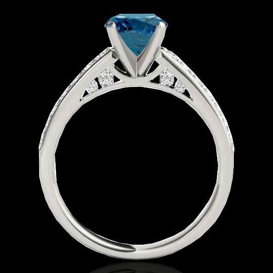 1.50 CTW Certified Fancy Blue Diamond Solitaire Bridal - 2