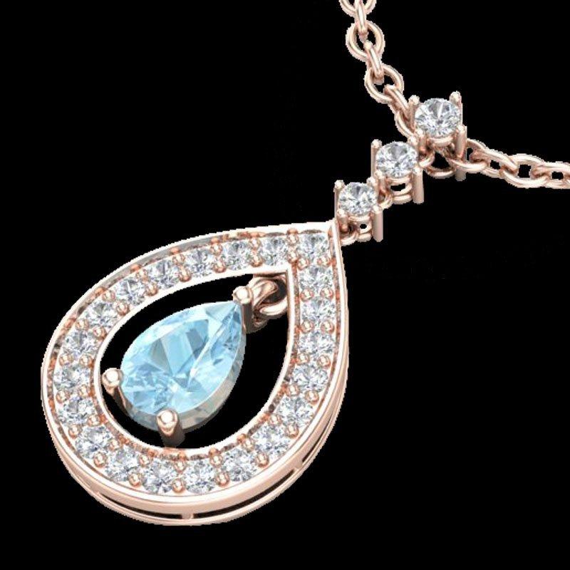 1.15 CTW Aquamarine & Micro Pave Diamond Necklace