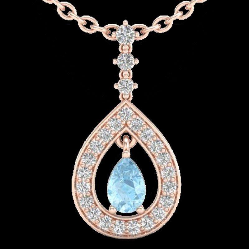 1.15 CTW Aquamarine & Micro Pave Diamond Necklace - 2