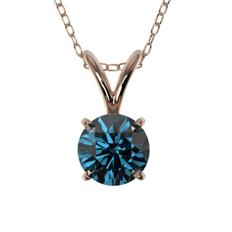 0.51 CTW Certified Intense Blue Diamond Solitaire