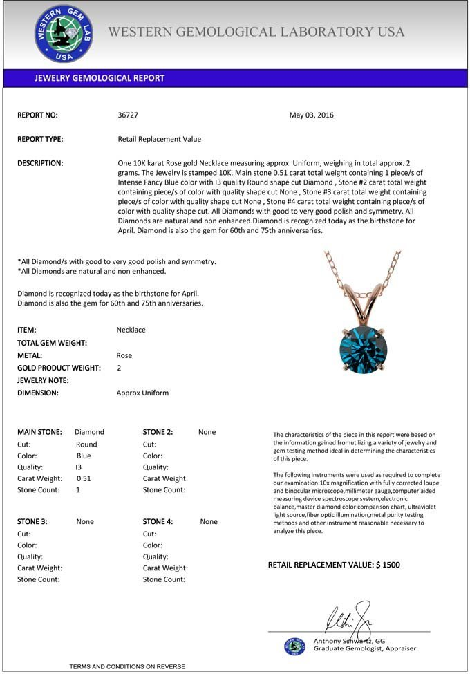 0.51 CTW Certified Intense Blue Diamond Solitaire - 4