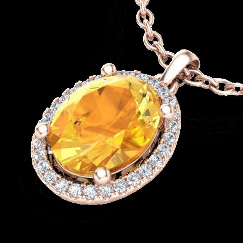 2.50 CTW Citrine & Micro Pave Diamond Certified