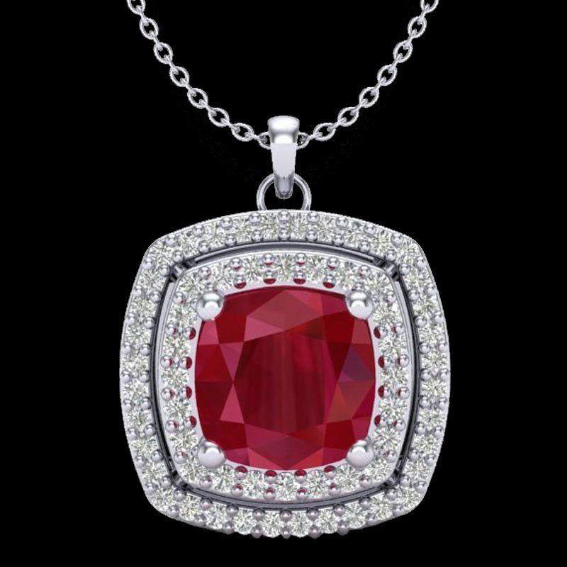 1.50 CTW Ruby & Micro Pave Diamond Certified Halo