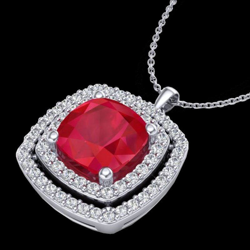 1.50 CTW Ruby & Micro Pave Diamond Certified Halo - 2