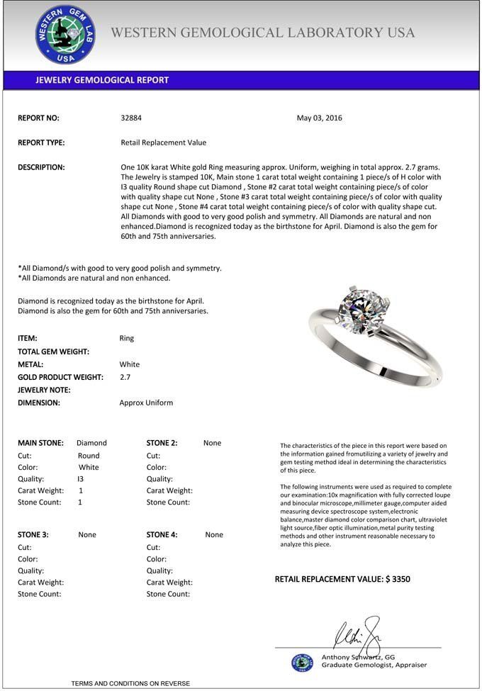 1.0 CTW Certified H-I Quality Diamond Solitaire - 3