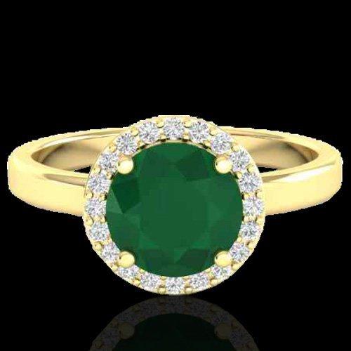 2.0 CTW Emerald & Halo Diamond Micro Pave Ring