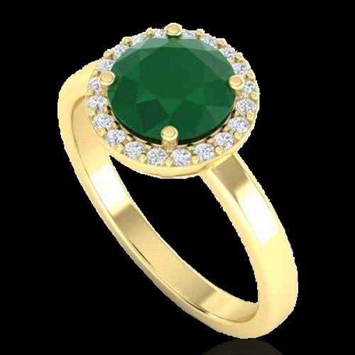 2.0 CTW Emerald & Halo Diamond Micro Pave Ring - 2