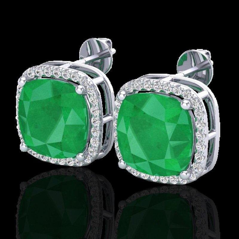 12 CTW Emerald & Micro Pave Halo Diamond Earrings