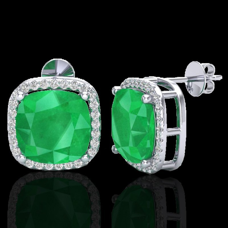 12 CTW Emerald & Micro Pave Halo Diamond Earrings - 2