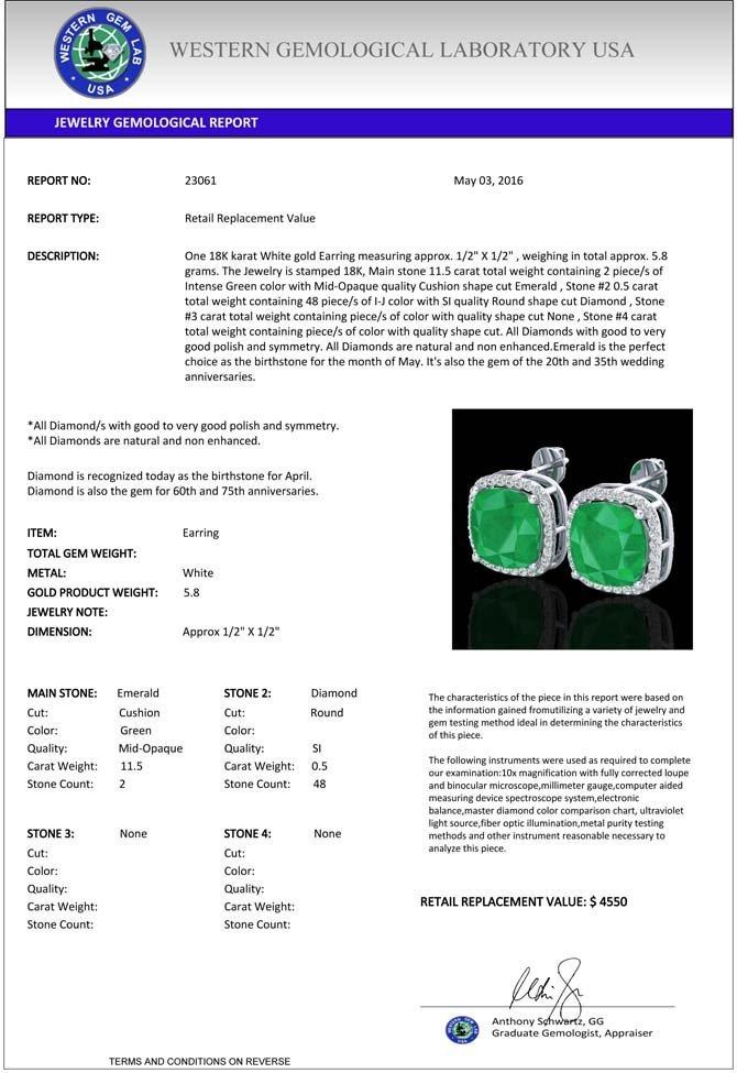 12 CTW Emerald & Micro Pave Halo Diamond Earrings - 3