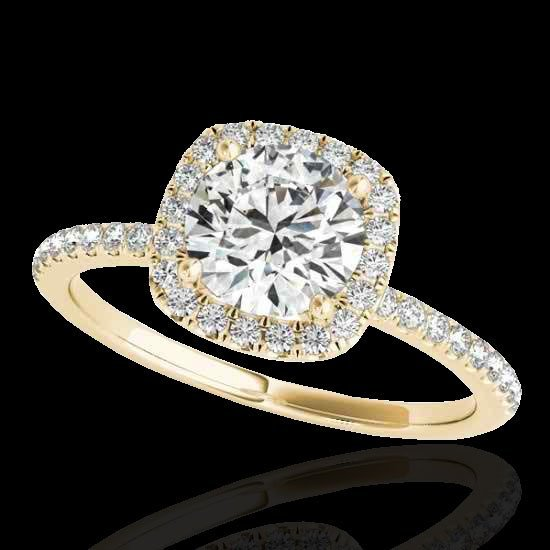 1.50 CTW Certified G-I Diamond Bridal Solitaire Halo