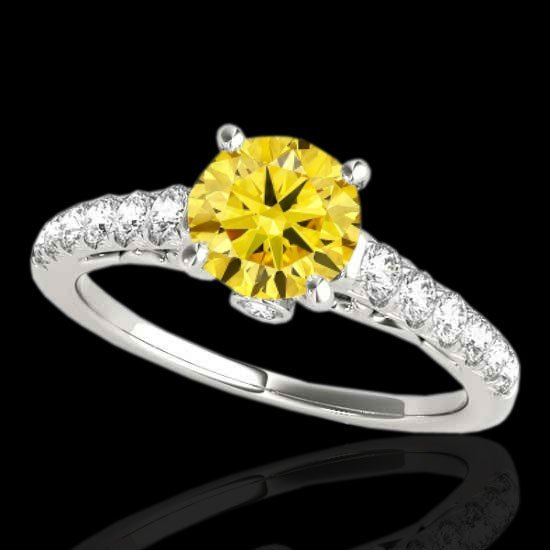 1.75 CTW Certified Fancy Intense Diamond Solitaire Ring