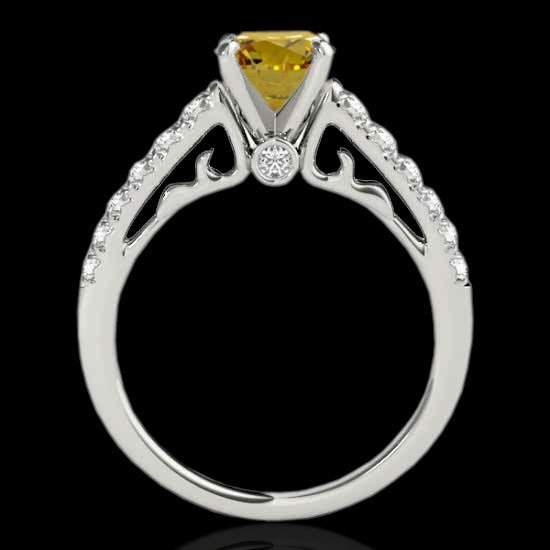 1.75 CTW Certified Fancy Intense Diamond Solitaire Ring - 2