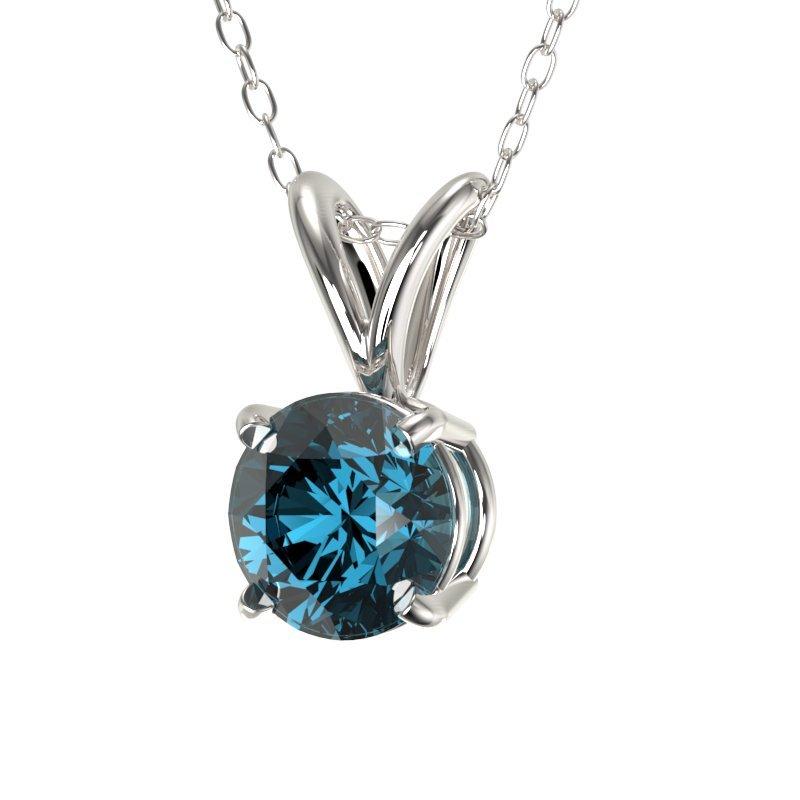 0.51 CTW Certified Intense Blue Diamond Solitaire - 2
