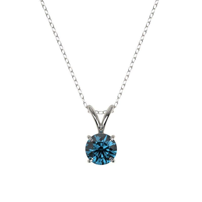 0.51 CTW Certified Intense Blue Diamond Solitaire - 3